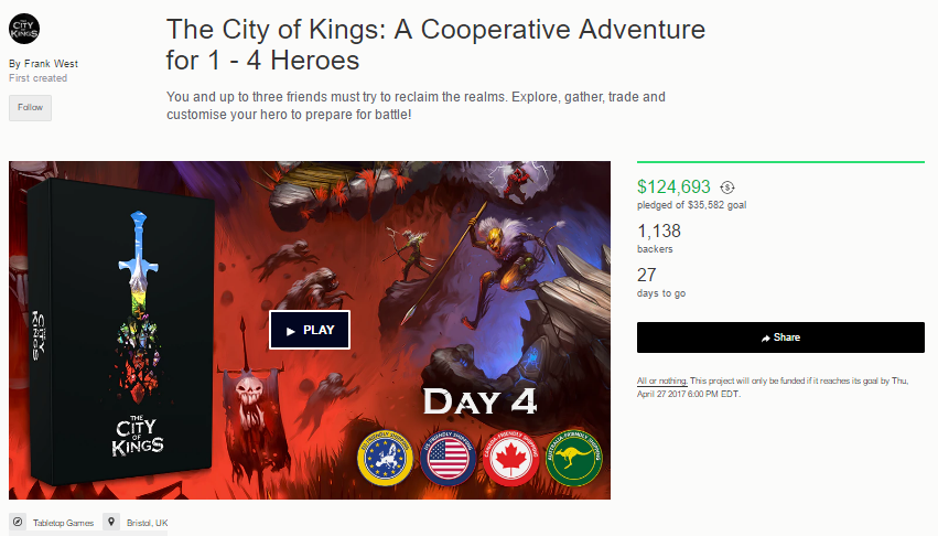 One of 2 Kickstarter Games I have backed. I became familiar with The City of Kings from a podcast that I religiously listen to.