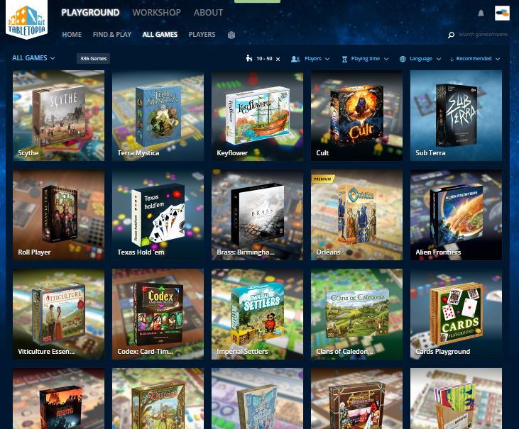 The Digital Board Games that are available on Tabletopia feels almost endless!